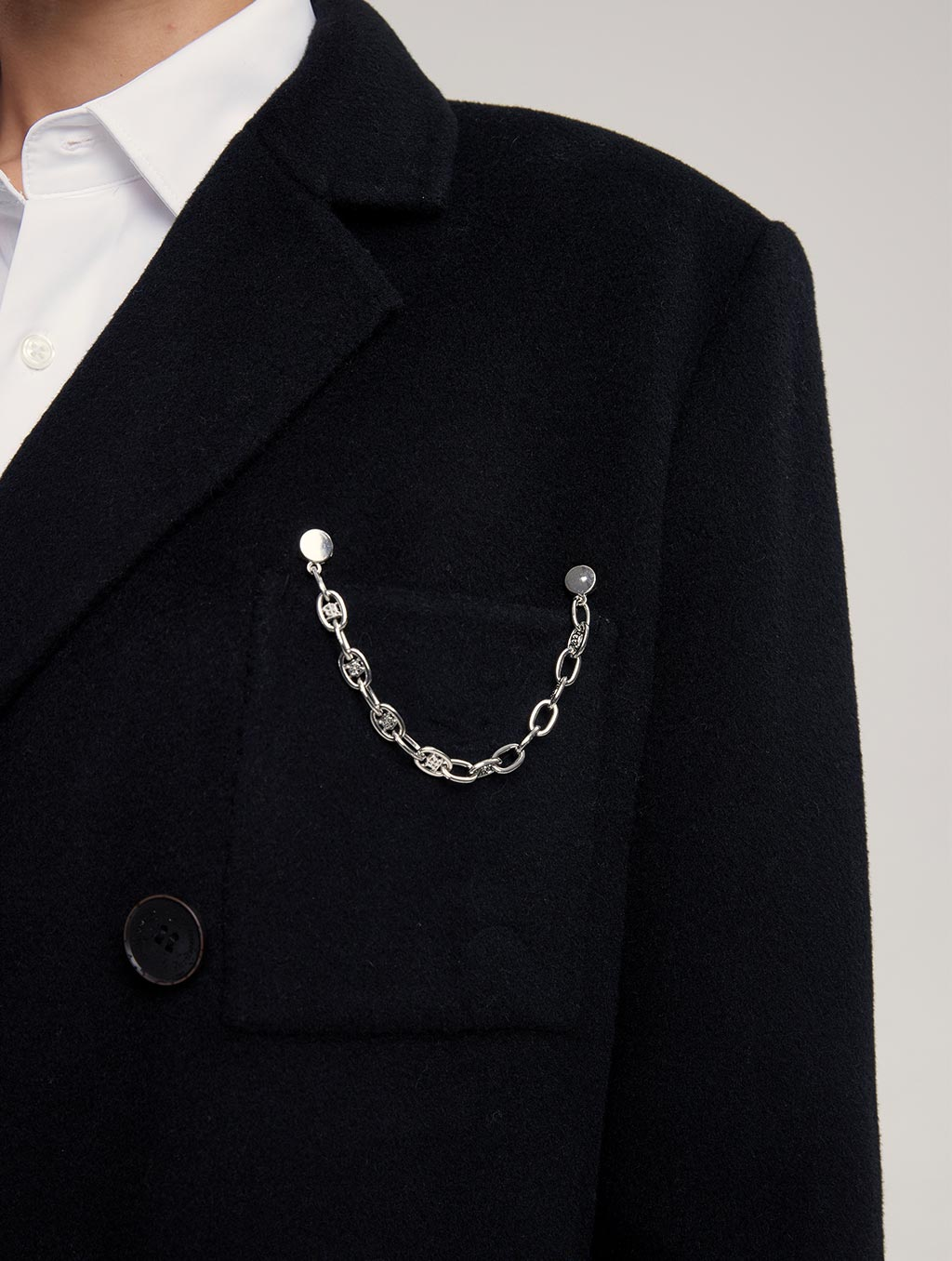 Waisted 100% Camel Hair Coat With Badge-detail1-black