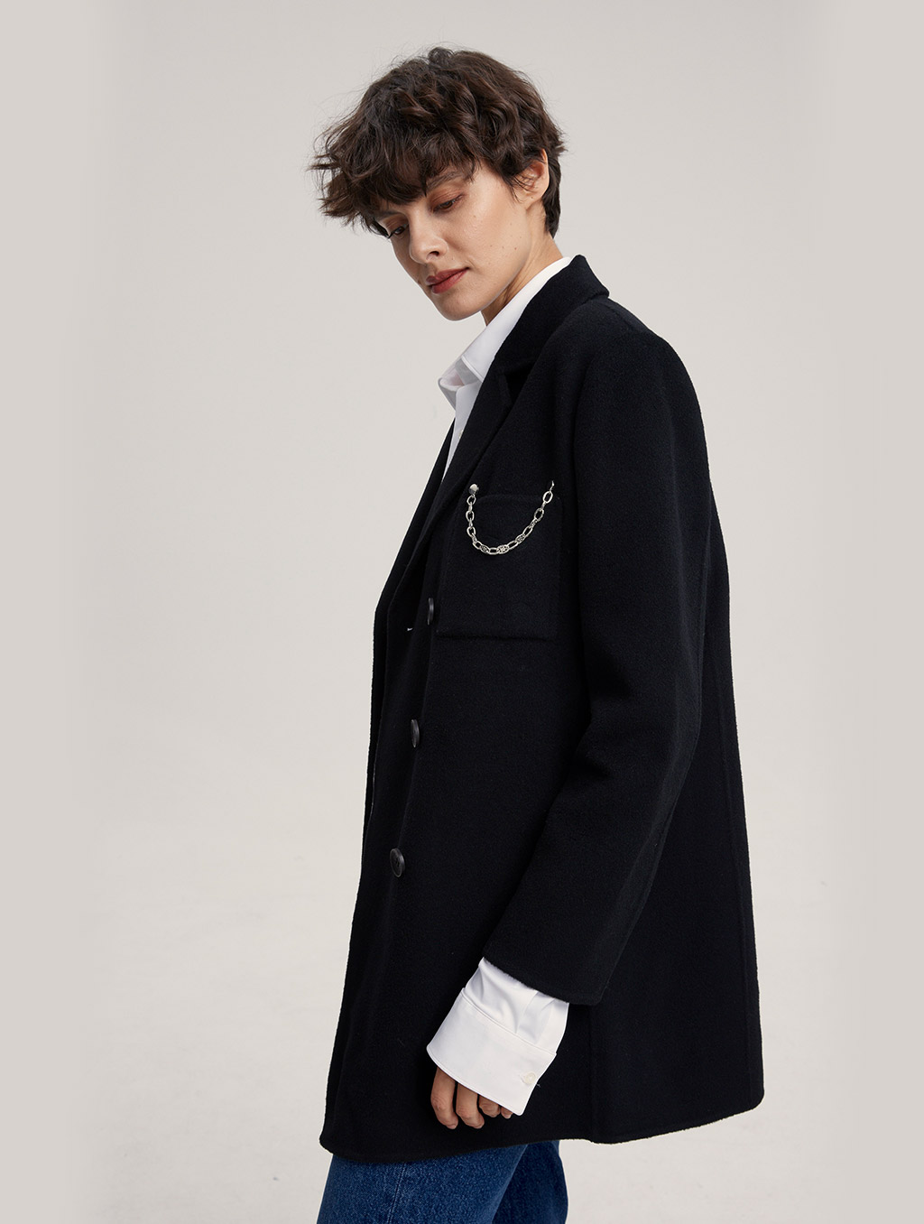 Waisted 100% Camel Hair Coat With Badge-side-black