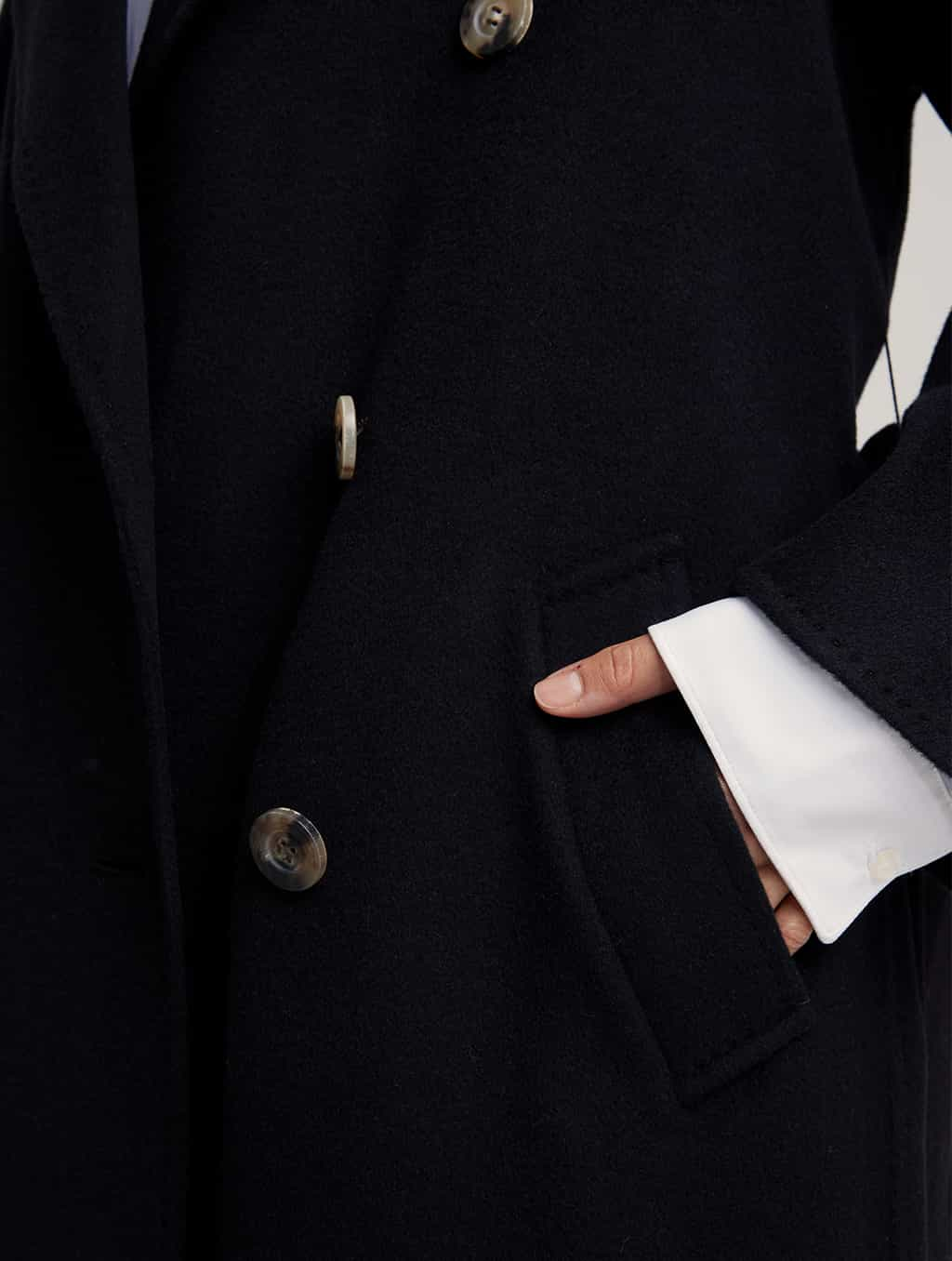 Waisted Pure Cashmere Coat with Straight Sleeves-detail1-black